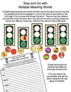 Literacy Center - Stop and Go With Multiple Meaning Words