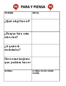 Stop and Think Sheet - BILINGUAL/SPANISH