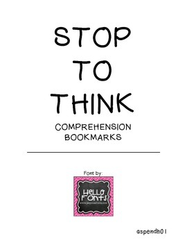 Stop to Think Comprehension Bookmarks