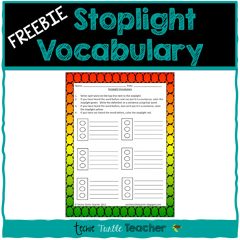 Stoplight Vocabulary - A way to Introduce New Words