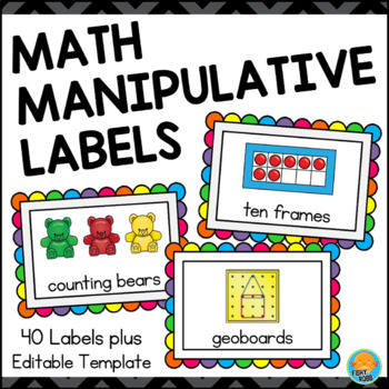 Storage Labels for Math Manipulatives - Brights on Black