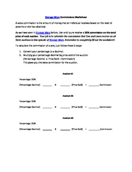 Storage Wars Commissions Worksheet for 6th Grade CA Common