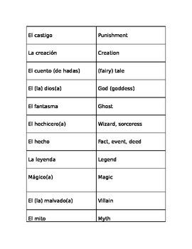 Stories matching/flashcards vocabulary