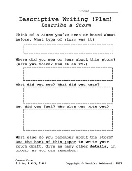 Storms - Descriptive Writing, Planning Page (Graphic Organizer)