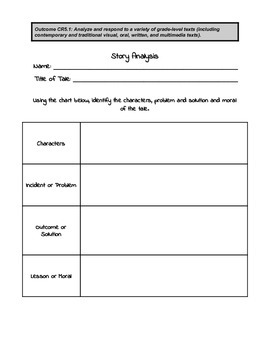Story Analysis - Use with Any Tale - elementary