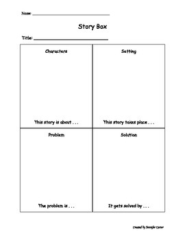 Story Box: Graphic Organizer for Characters, Setting, Prob