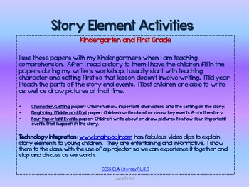 Story Element Activities for Kindergarten