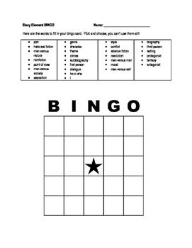 Story Element Bingo