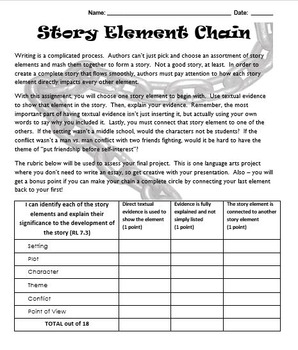 Story Element Chain - Easy Project to Encourage Close-Reading