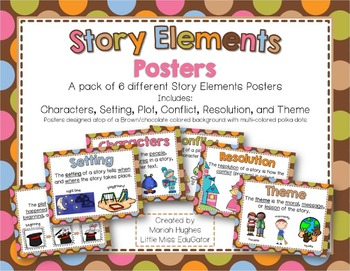 Story Elements Posters - Multi-Colored Polka Dots on Choco