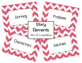Story Elements - Set of 5 posters - Chevron - Pink/Black