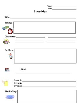 Story Map Graphic Organizer Scaffold with Visuals