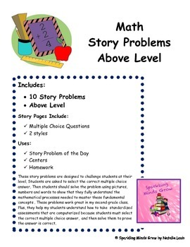Story Problems~Adding and Subtracting~Above Level