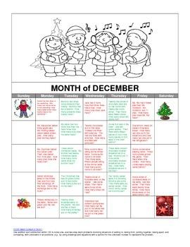 Story Problem Calendar