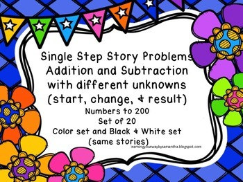 Story Problems with Different Unknowns up to 200 (Addition