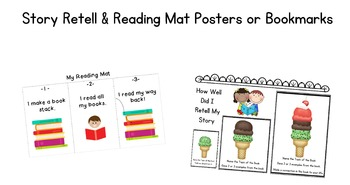 Story Retell & Reading Mat Posters or Bookmarks for Primar