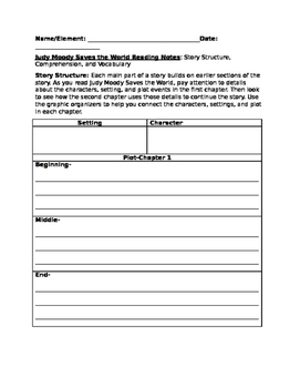 Judy Moody Saves the World Story Structure/Reading Notes