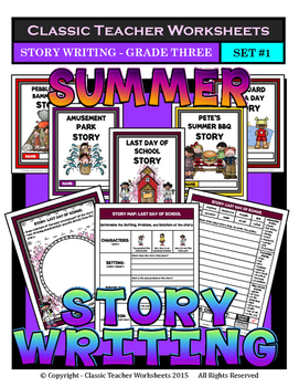 Story Writing-Summer-Grade 3 (3rd Grade)- Story Maps and S