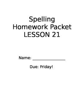 StoryTown Grade 2 Spelling Lesson 21 Homework Packet