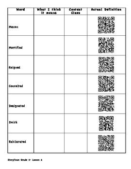 StoryTown Grade 5 - QR Code Vocabulary Worksheet- Lesson 2