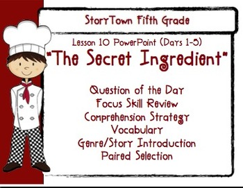 """Storytown Grade 5 Lesson 10 """"The Secret Ingredient"""" Weekly"""