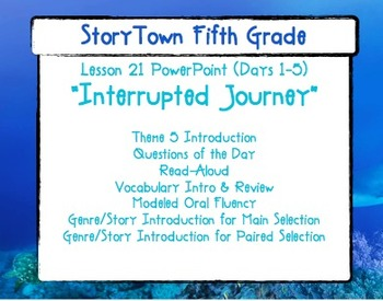 "Storytown Grade 5 Lesson 21 ""Interrupted Journey"" Weekly P"