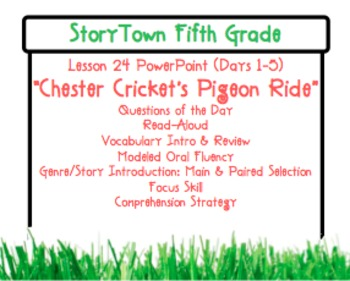 """Storytown Grade 5 Lesson 24 """"Chester Cricket"""" Weekly PowerPoint"""