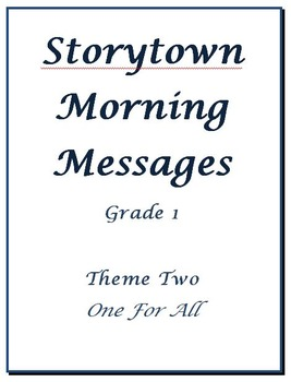 Storytown Morning Messages, Grade 1, Theme 2