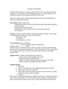 Strategies for Prewriting