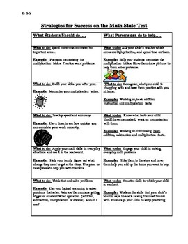 Strategies in Math for Parents/ Guardians Also in Spanish