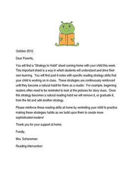 Strategies to Habits Introductory Letter to Parents