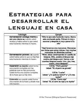 Strategies to Help Develop Language/Estrategias Para Desar
