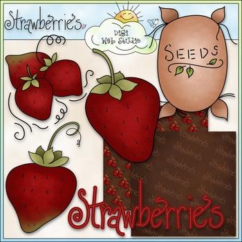 Strawberries Clip Art - CU Clip Art & B&W