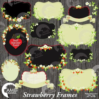 Strawberry Clipart, Floral Frames in Reds and Whites Clipa