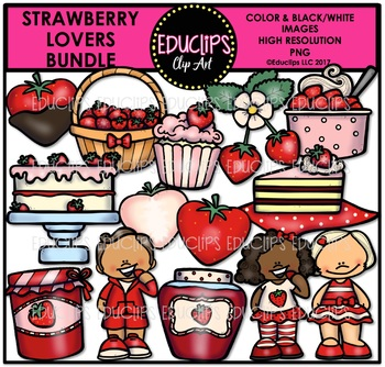Strawberry Lovers Clip Art Bundle {Educlips Clipart}