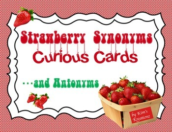 Strawberry Synonyms and Antonyms Task Cards