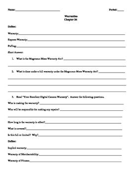 Street Law: Glencoe  Chapter 24 Homework  Warranties