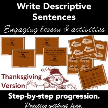 Stretch a Sentence: THANKSGIVING Lesson, Activity, Samples