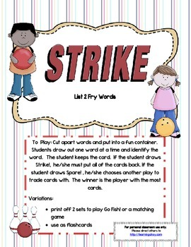 Strike! ~ A sight word recognition game using the 2nd100 F