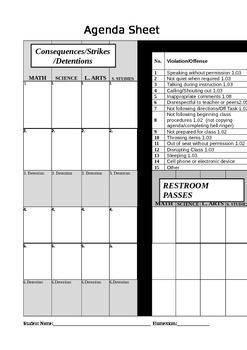 Strike detention rr passes student agenda tracking sheet