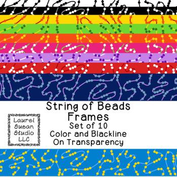 String of Beads Frames Clip Art PNG JPG Blackline Included