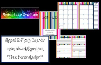 Striped 12-Month Calendar Aug. '14 to Jul. '15