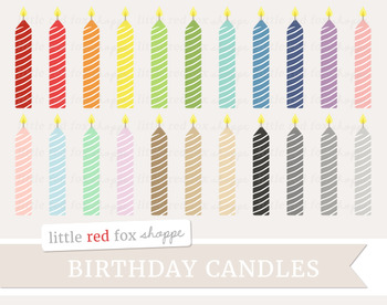 Striped Birthday Candle Clipart