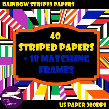 Striped Digital Papers and Matching Frames for Work Books,