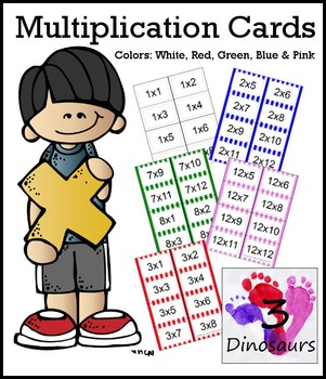 Striped Multiplication Flash Cards