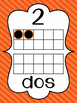 Striped Number Posters in Spanish {0-20} With Number, Tens