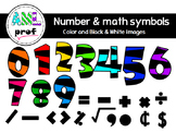 Striped Numbers & Math symbols 2  clipart (Chiffres rayés