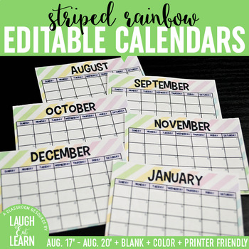 Editable Calendars {Striped Rainbow}