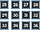 Striped Scalloped Calendar Numbers in Blue!