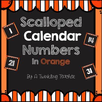 Striped Scalloped Calendar Numbers in Orange!